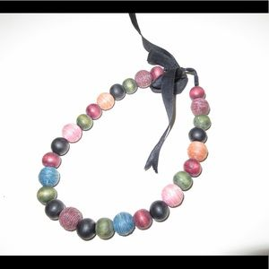 Colorful Large Bead Ribbon Closure Necklace